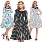 Polka Dots Floral 3/4-Sleeve Vintage Retro Party Cocktail Ball Gown Picnic Dress