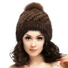 Xmas Real Mink Fur Hats Women Knitted Fur Hats With Fox Fur Peas Fashion Cap