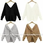 Chic V-neck Twist Knot Back Long Sleeve Pullover Sweater Two-side wear Jumper