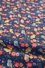 Cotton Duck Canvas Fabric Pink Yellow Blue Owls Navy Blue Per Meter
