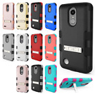 For Alcatel Dawn Advanced Layer HYBRID KICKSTAND Rubber Case Cover +Screen Guard