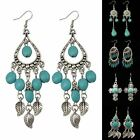 Hot Women's Girl Silver Plated Turquoise Drop Hook Dangle Earrings