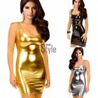Lady Women Sexy Leather Cocktail Party Evening Dress Tank Top Mini Dress TXST