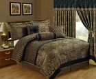 Chezmoi Collection Lisbon 7-Piece Jacquard Floral Comforter Set or Curtain Set image