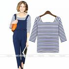 Stylish Womens Blue & White Stripe T-Shirt Casual Blouse Cotton Tee Tops