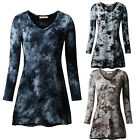 HOT SALE Women's All Over T-Shirt V Neck Long Sleeve Casual Tunic Tops Tie Dyed