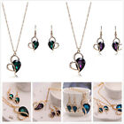 New Gifts Party Heart Lace Waterdrop Rhinestone Necklace Earrings Jewelry Set L