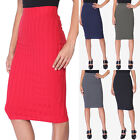 TheMogan Women's Contemporary Ribbed Knit Curve Hugging Pullon Midi Pencil Skirt