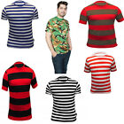 New Men Striped Stripy Crew Neck Short Sleeve T-Shirt