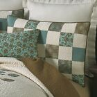 DONNA SHARP VINTAGE TREE OF LIFE TURQUOISE BROWN NATURAL PATCHWORK STANDARD SHAM image