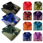 Mens Traditional Thai Silk Shirts Straight Casual Collar Short Sleeve Small-3XL