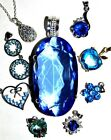 LOVELY SELECTION BLUE CRYSTAL PENDANT NECKLACES ON SILVER CHAINS BUY 2GET1 FREE