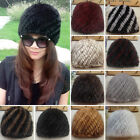 10 Colors REAL MINK FUR Knitted Hat Women Winter Warm Fur Cap One Size Xmas Sale