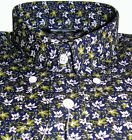 Navy Green & White Floral Men's Shirt Casual Vintage 100% Cotton - Relco