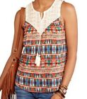 Woven Southwestern Pattern Tank Top Blouse with Lace Yoke and Tassel  NWT