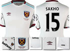 16 / 17 - UMBRO WEST HAM UNITED AWAY SHIRT SS + PATCHES SAKHO 15 = KIDS SIZE