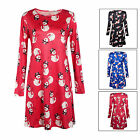 Women Xmas Belted Skater Swing Short Dress Lady Christmas T Shirt Top Masquerade