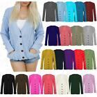 Womens Chunky Cable Knitted Ladies Boyfriend Grandad Pocket Button Top Cardigan