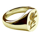 9ct Yellow Gold Family Crest Oval Signet Rings Your Bespoke Engraving 16x13mm