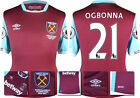 16 / 17 - UMBRO WEST HAM UNITED HOME SHIRT SS + PATCHES  OGBONNA 21 = KIDS SIZE