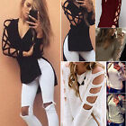 Womens Cold Off Shoulder Loose Top Long Sleeve Blouse Ladies Casual Tops Sweater