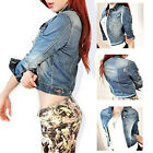 Women's Blue Jeans Casual Denim Jacket Long Sleeve Fashion Coat Outerwear New