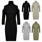 Womens Knitted Ribbed Ladies Cold Cut Shoulder Roll High Polo Neck Jumper Dress
