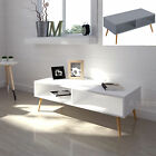 Scandinavian White Grey Retro TV Stand Coffee Table Solid Oak Legs 32 to 55""