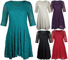 New Ladies Floral Lace Lined 3/4 Sleeve Women's Skater Mini Party Dress Plus Siz
