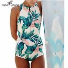 Women Floral Sleevelss Surfing One Piece Monikini Beach Swimming Bathing Suit