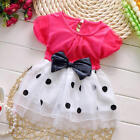 Summer Baby Princess Bowknot Dot Tulle Short Sleeve Cotton Multi color Dress