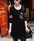 Women's Hot Solid Long Sleeve Tunic Shirt with Pocket Color Block Tops T-Shirt