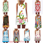 Hot Sale Women Vintage Mini Dress Sleeveless Bodycon Casual Cocktail Sundress