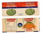 VINTAGE LABELS FINAST TINY GREEN LIMA BEANS, MASS & SUPREME COURT CARROTS, NY