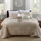 Striped King Size Quilted Bedspreads Bed Linen New Coverlets Set 100% Cotton