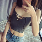 Sexy Fashion Women Summer Lace Up Knitted Sleeveless Crop Casual Blouse Tops RD