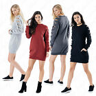 Womens Laser Cut Ladies Girls Oversized Baggy Loose Sweatshirt Top Tunic Dress