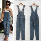 Womens Washed Jeans Denim Casual Hole Loose Jumpsuit Romper Overall Pants TXST