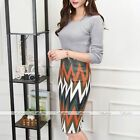 Women Navy Striped Suede Stretchy Fit Pencil Bodycon Midi Skirt Business Casual