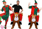 ELF RIDING REINDEER COSTUME FANCY DRESS FUNNY NOVELTY CHRISTMAS RIDE ON S-XXXL