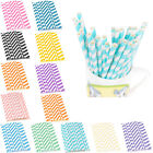 25PCS Biodegradable Paper Striped Drinking Straws Home Birthday Party Tableware