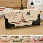 Womens Girls Handbag Long Thin Purse Faux Leather Wallet Money Holder Bag Clutch