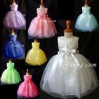 SP9 Baby Flower Girl Wedding Junior Bridesmaid Birthday Prom Sequin Summer Dress
