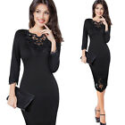 Womens embroidery Elegant Vintage Wear To Work Office Party Bodycon Dress 4232