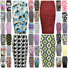 WOMEN LADIES MIDI SKIRT STRETCH HIGH WAIST PRINTED PENCIL BODYCON WIGGLE TUBE