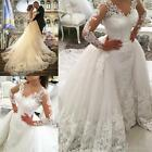 Big Detachable Train Lace Wedding Dresses Long Sleeve Bridal Gown Custom