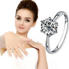 Size 5 6 6.5 7 8 Solid Ring Wedding Engagement Solitaire AAA Cubic Zirconia