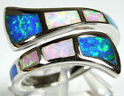 Multicolor Pink White Blue Fire Opal Inlay 925 Sterling Silver Ring Size 6.5-7.5