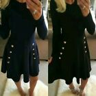Women's Military Button Skater Swing dress Long Sleeve Ladies UK 8-22 Plus Size