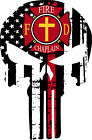 Thin Red Line Decal-Firefighter Fire Chaplain Punisher Decal/ Free Shipping